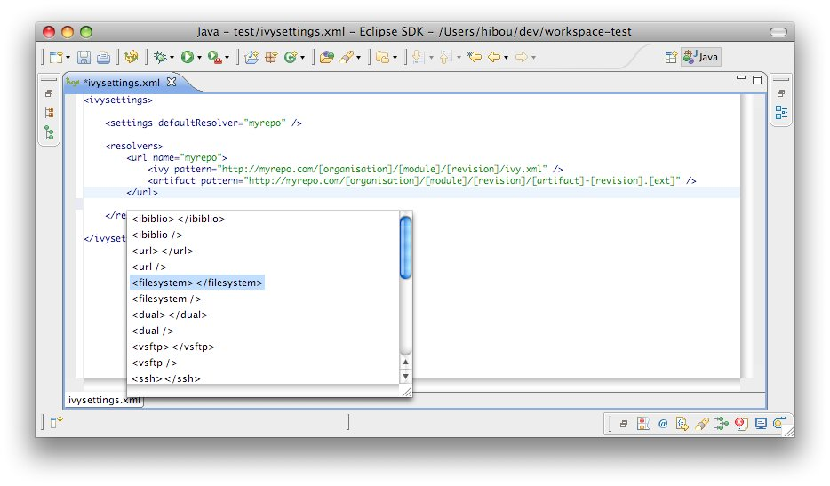 Ivy settings editor | Apache IvyDE™